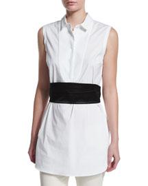 Sleeveless Poplin Tunic Blouse, Black/White