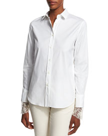 Poplin Blouse w/Scalloped Lace Cuffs, White