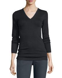 Long-Sleeve V-Neck Monili T-Shirt, Black