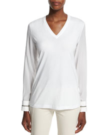 Long-Sleeve V-Neck Monili-Cuff Top, White