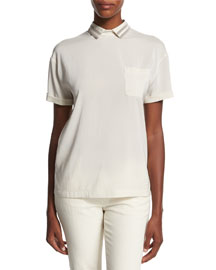 Short-Sleeve Monili-Collar Silk-Blend Top, Ivory