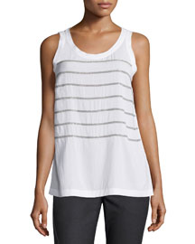 Sleeveless Monili-Striped Top, White