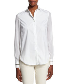 Poplin Button-Down Shirt, White