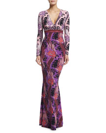 Long-Sleeve V-Neck Printed Gown, Red
