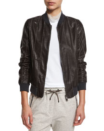 Monili-Beaded Leather Varsity Jacket