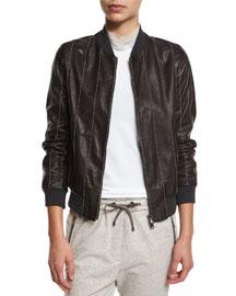 Monili-Beaded Leather Varsity Jacket