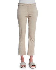 Cropped Suede Flared Pants, Beige