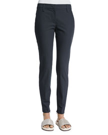 Stretch-Cotton Zip-Cuff Pants, Dark Gray