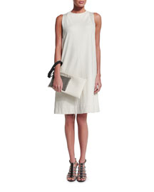 Sleeveless Felpa Cotton Dress, Ivory