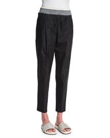 Cotton-Blend Pull-On Pants, Black