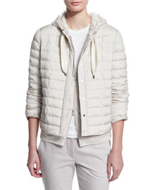 Quilted Taffeta Zip-Front Puffer Jacket, Light Gray