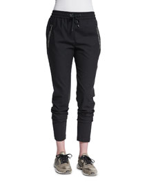 Monili-Beaded Stretch-Wool Jogger Pants, Dark Gray