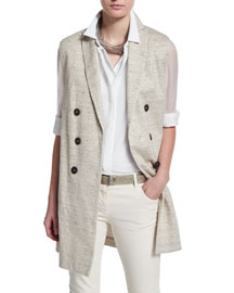 Double-Breasted Linen-Tweed Vest, Dark Gray