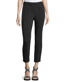 Soft Pleated Cropped Pants, Black