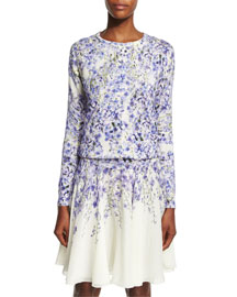 Allover Floral-Print Silk-Cashmere Cardigan, Blue