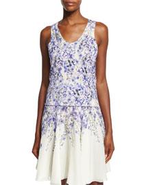 Allover Floral-Print Silk-Cashmere Tank, Blue