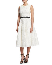 Sleeveless Floral-Jacquard A-Line Dress, White