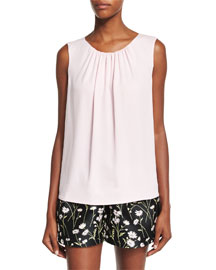 Sleeveless Ruched-Neck Silk Blouse, Pink