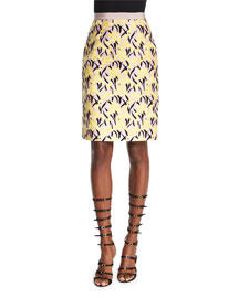 Floral-Print Pencil Skirt, Yellow
