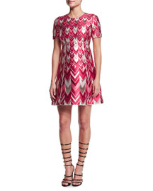 Chevron-Striped Metallic Jacquard Dress, Red