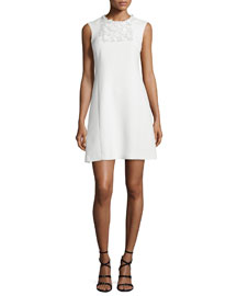 Sleeveless Crepe Dress w/Embroidered Bib, White