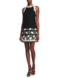 Macrame Needlepoint Daisy Dress, Black