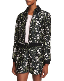 Daisy-Print Long-Sleeve Bomber Jacket, Black