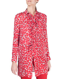 Long Bubble-Print Ruffle-Front Blouse, Red