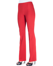 Cady Side-Zip Flare-Leg Pants, Red