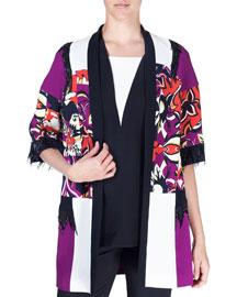 Cubist Floral Embellished Cady Topper Jacket, Purple