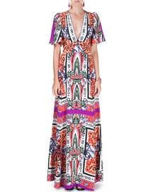 Flutter-Sleeve V-Neck Pottery-Print Gown, Purple