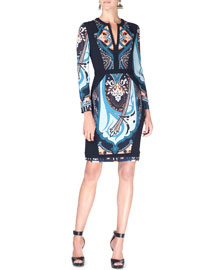 Deco-Print Long-Sleeve Cady Dress, Blue