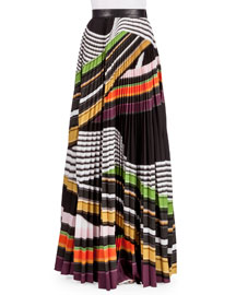 Multi-Stripe Plisse Maxi Skirt, Viola Stripe