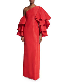 Bidi Bidi Bom Bom Gown w/Detachable Ruffle Sleeves, Red