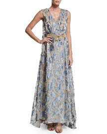 Sleeveless V-Neck Jacquard Organza Gown, Fantasy Print/Beige