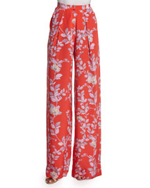 Floral-Print Wide-Leg Silk Pants, Red/Lavender