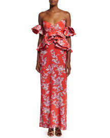 Bougainvillea Off-the-Shoulder Floral-Print Ruffled Silk Gown, Red/Lavender