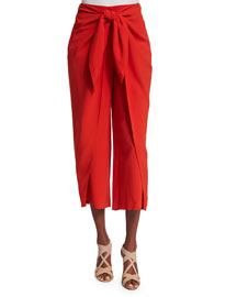 Silk Tie-Waist Cropped Pants, Red