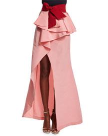 Ruffled Peplum Silk Maxi Skirt, Pink
