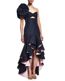 Ruffled One-Shoulder Silk High-Low Gown, Navy