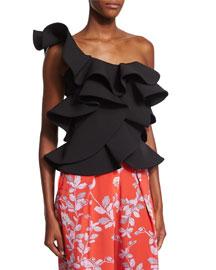 Ruffled One-Shoulder Silk Top, Black