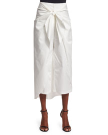 Cropped Wide-Leg Tie-Waist Pants, White