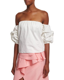 Off-the-Shoulder Puff-Sleeve Top, White