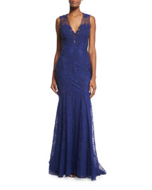 Sleeveless Lace Illusion-Back Gown, Navy