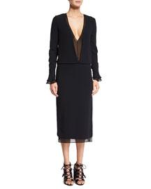 Sheer Plunging Long-Sleeve Dress, Black
