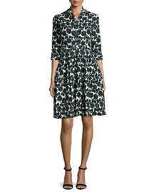 Claire 3/4-Sleeve Rose-Print Shirtdress