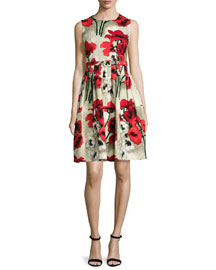 Rachel Sleeveless Poppy-Print A-Line Dress