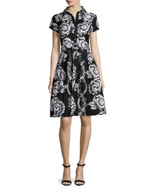 Claire Short-Sleeve Paisley-Print Shirtdress