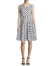 Rachel Sleeveless Dotted A-Line Dress