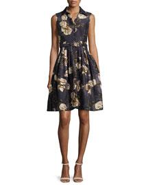 Claire Sleeveless Floral-Print A-Line Shirtdress